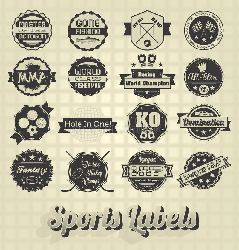 Labels et icônes mélangés de sports illustration stock