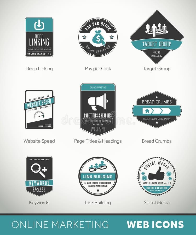 Labels et insignes de marketing en ligne avec des icônes illustration libre de droits