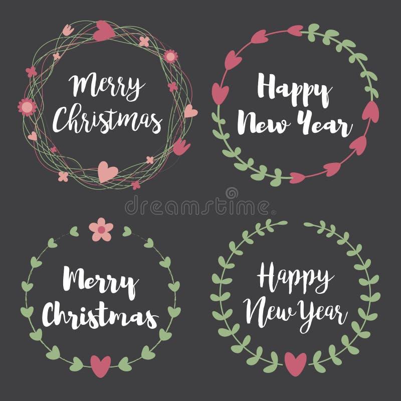 Labels et insignes de Noël Ensemble de cadre floral de guirlande illustration de vecteur
