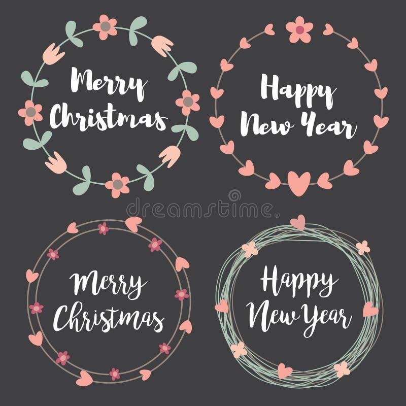 Labels et insignes de Noël Ensemble de cadre floral de guirlande pour Merr illustration de vecteur