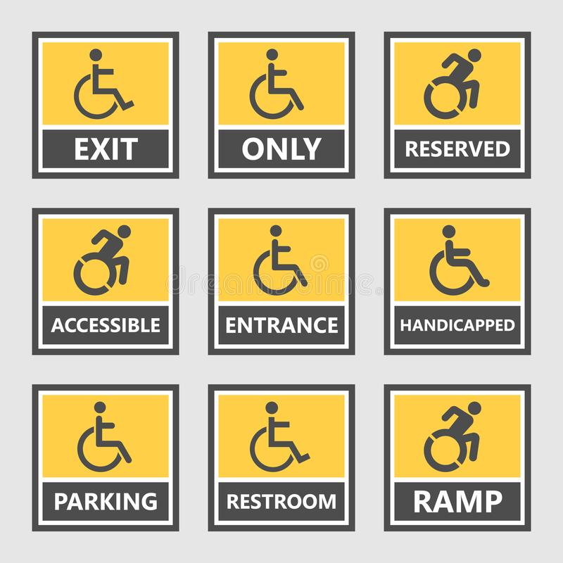 Labels et signes d'handicap, icônes de handicapés et autocollants illustration libre de droits