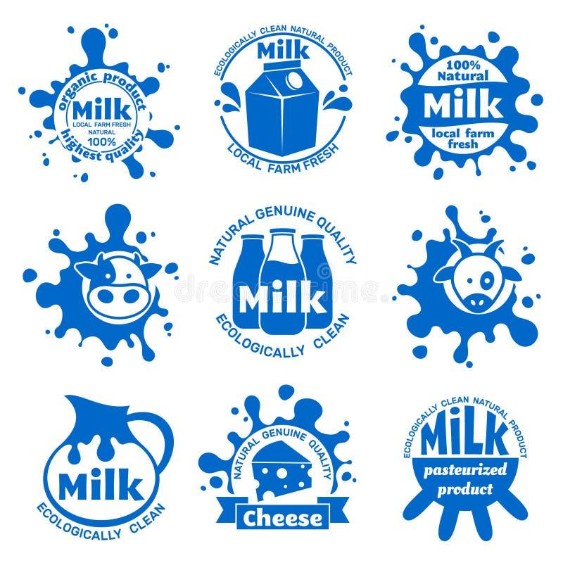Labels frais de lait de vache à ferme Emblèmes bleus de vecteur de laiterie saine pour l'emballage alimentaire illustration de vecteur