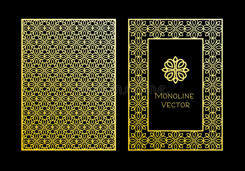 Labels and frames for packaging for luxury products in trendy linear style. Vector set of design elements, labels and frames for packaging for luxury products in stock illustration