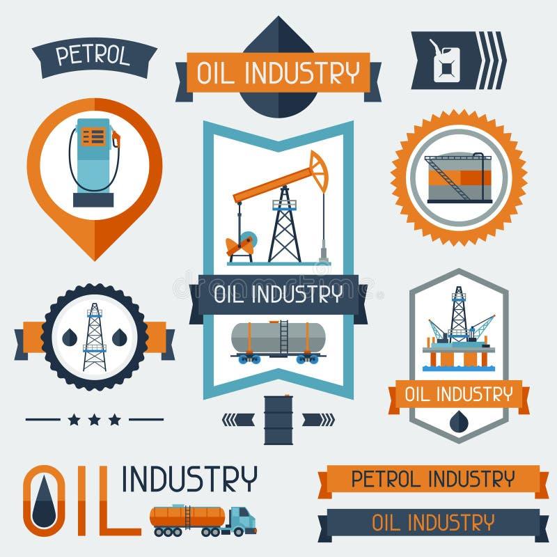 Labels industriels d'insignes avec des icônes de pétrole et d'essence illustration stock