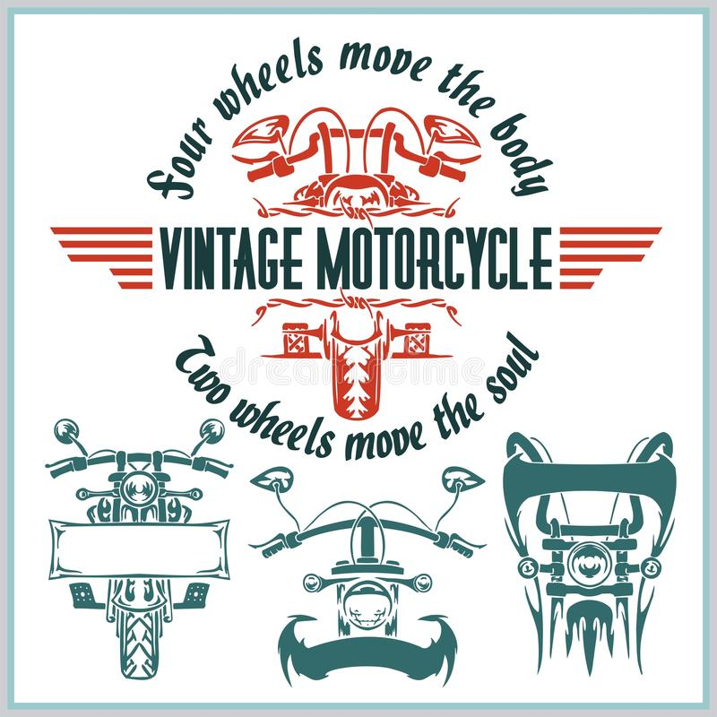 Labels, insignes et conception de moto de vintage illustration stock