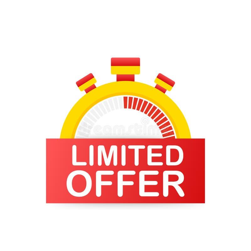 Labels limités d'offre Logo de compte à rebours de réveil Insigne d'offre de temps limité Illustration de vecteur illustration libre de droits