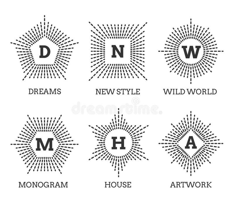 Labels, logo ou insignes de vintage de hippie illustration libre de droits