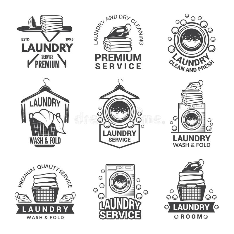 Labels or logos for laundry service. Vector monochrome pictures vector illustration