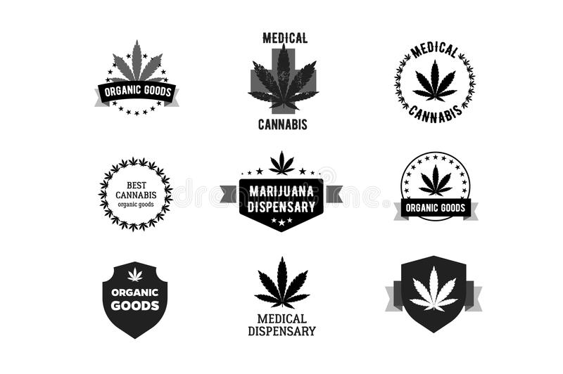 Labels For Medical Marijuana Cannabis Logo Stock Vector