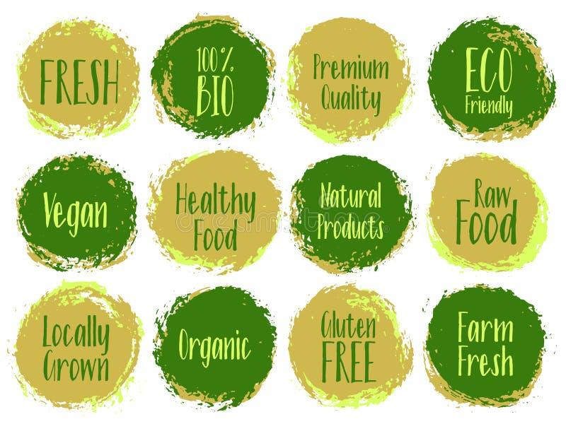 Labels organiques, bio emblèmes pour l'emballage de produits illustration stock