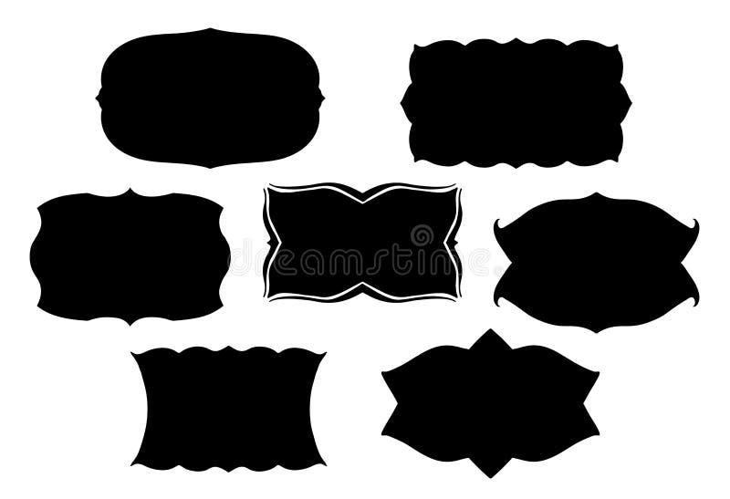 Labels ou étiquettes de fantaisie avec les frontières symétriques et style de vintage le rétro illustration libre de droits