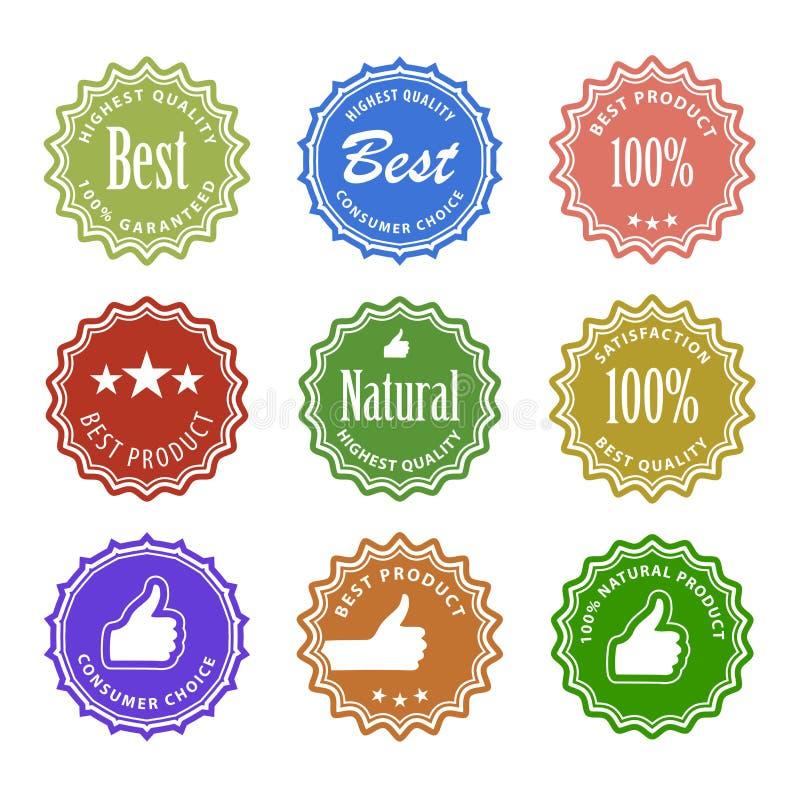 Labels plats de garantie de satisfaction de conception avec la main de geste illustration stock