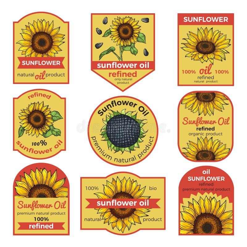 Labels pour l'huile de tournesol Illustration de vecteur avec la place pour votre texte illustration stock
