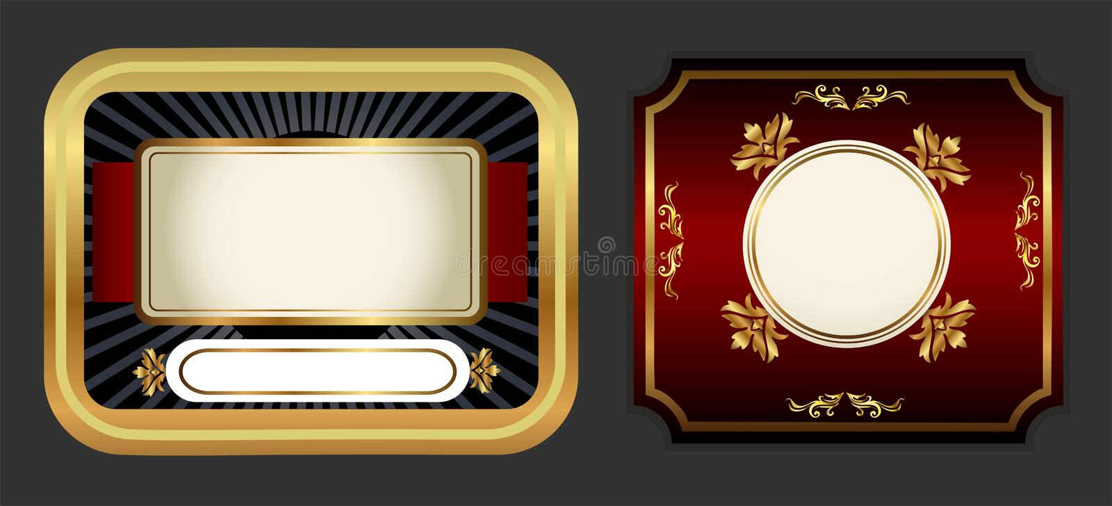 Labels red. Gold labels suitable for all kinds of drinks royalty free illustration