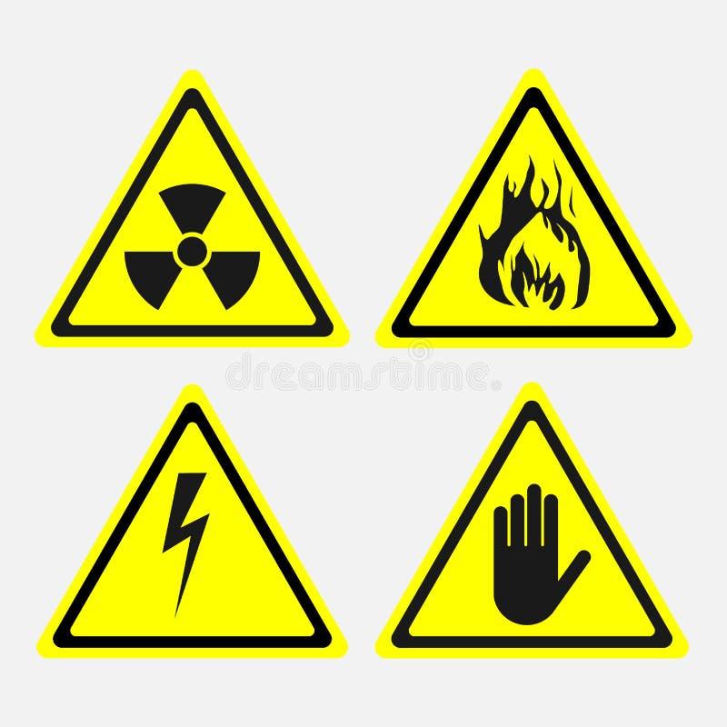 Labels, set, biological threats, radiation, electricity danger, stock illustration