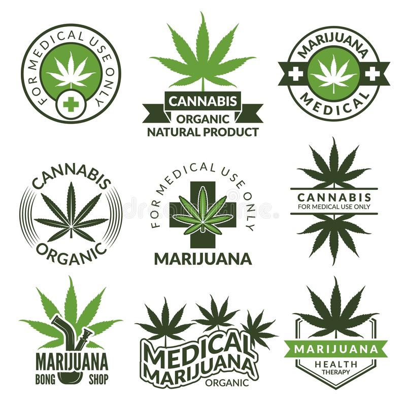 Labels set with different pictures of marijuana plants. Medical herbs, cannabis leaf. Marijuana narcotic badge medicinal illustration royalty free illustration