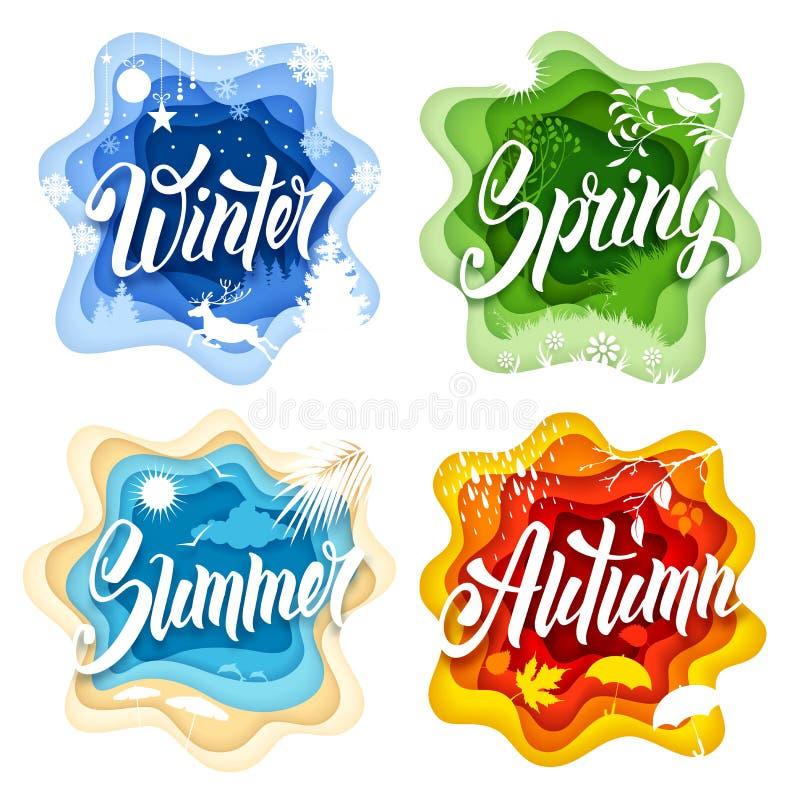 Four seasons paper art royalty free illustration