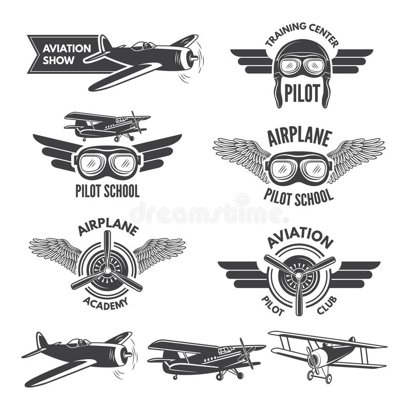 Free Labels Set With Illustrations Of Vintage Airplanes. Travel Pictures And Logo For Aviators Royalty Free Stock Images - 107415469