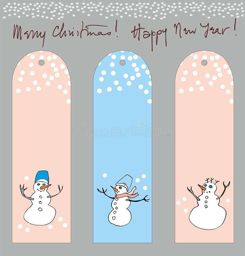 Labels with snowman stock photo
