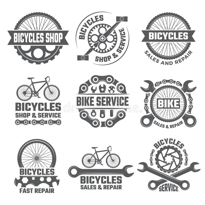 Labels and sport logos set with parts of bicycle stock illustration