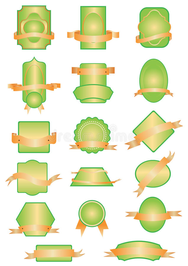 Labels, stickers and banners. Set of labels, stickers and banners in green and orange colours, nature and biologic theme vector illustration