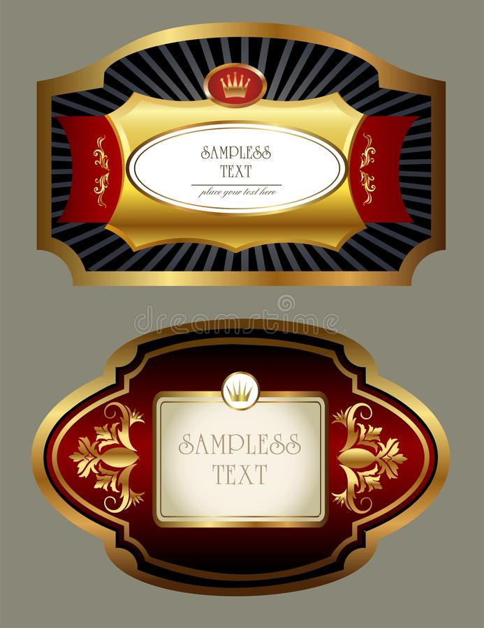 Labels tings. Beautiful golden labels for beverages royalty free illustration