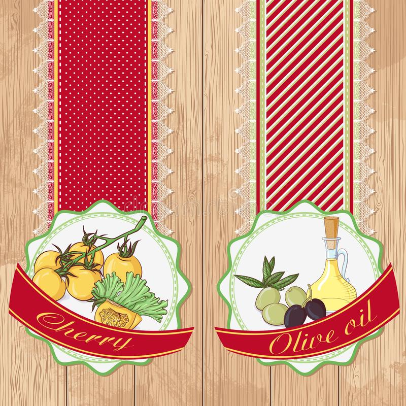 Labels with tomatoes and oil vector illustration