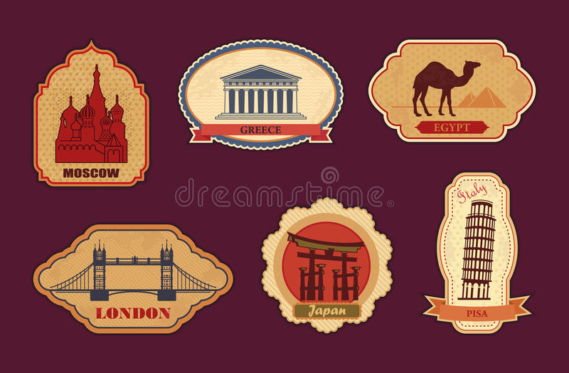 Labels Of Travel Royalty Free Stock Photos