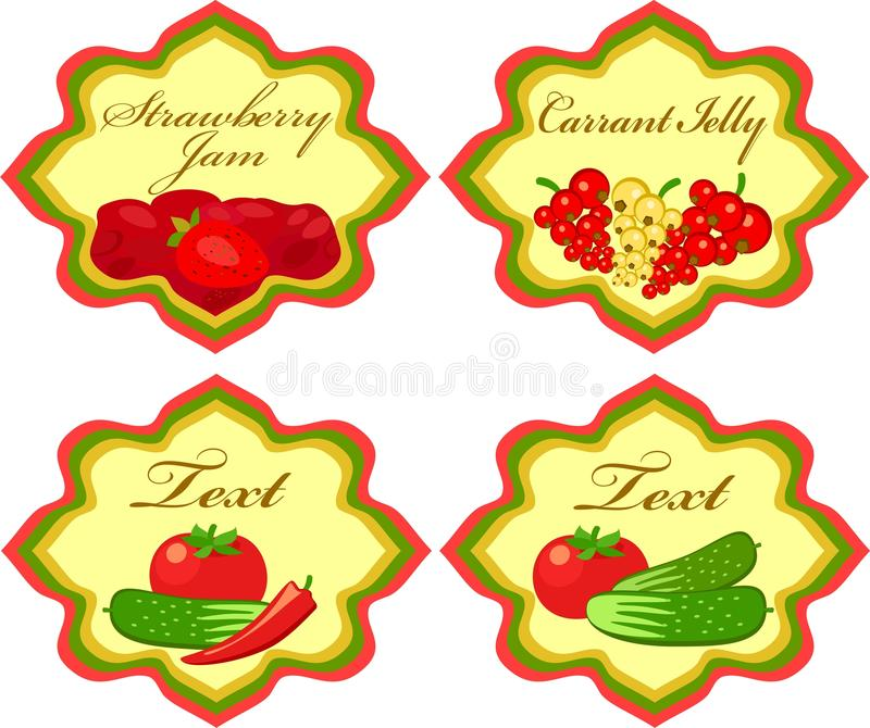 Labels With Vegetables And Berries Stock Photography