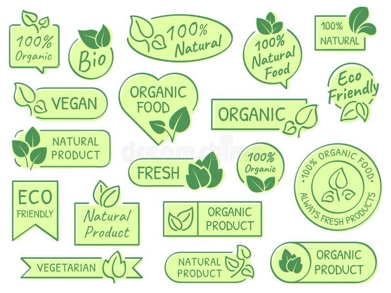 Labels verts de feuilles Produits d'Eco, sains et naturels A certifié le label végétarien organique frais de vecteur de nourritur illustration stock