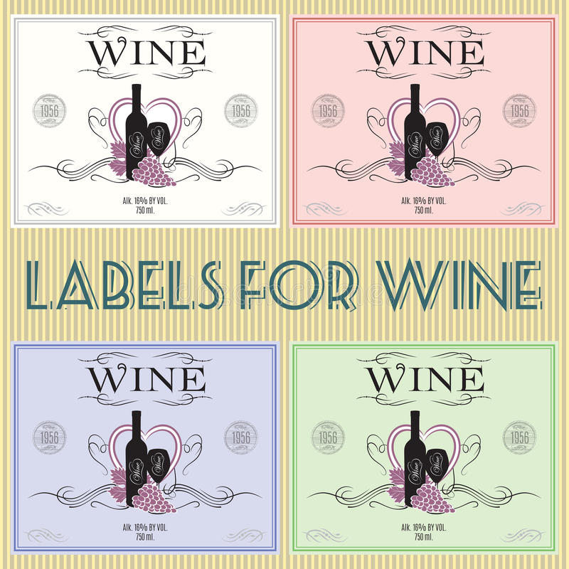 Labels for wine. Set of labels for wine with bunch grapes and barrel royalty free illustration