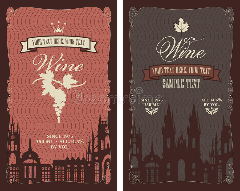 Labels for wine royalty free illustration