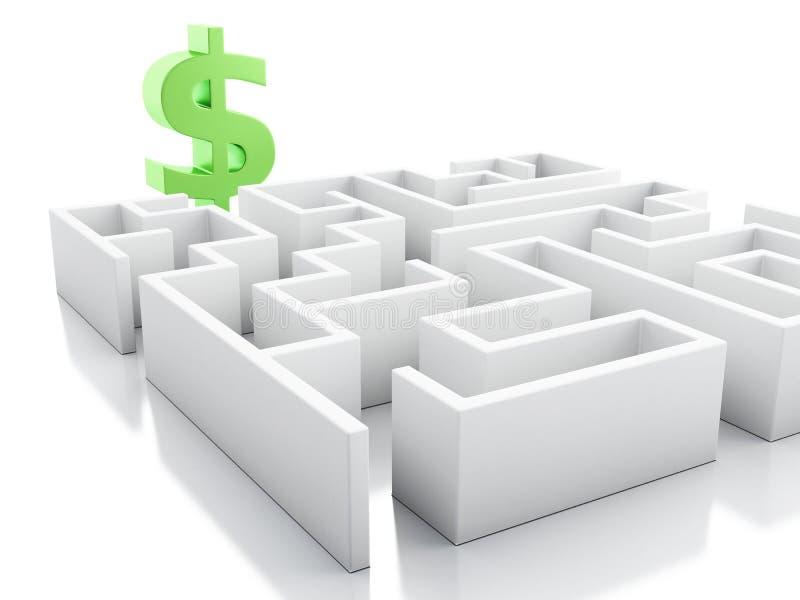 laberinto blanco 3d con la muestra de dólar ilustración del vector