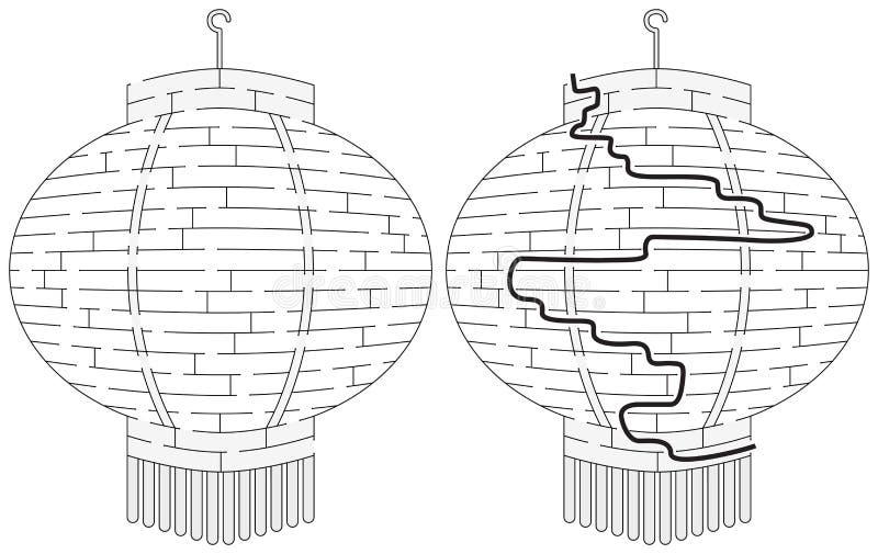Laberinto chino fácil de la linterna ilustración del vector