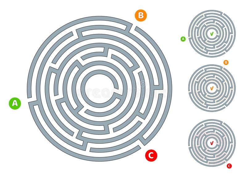 Laberinto circular abstracto del laberinto con una entrada y un ejemplo plano de la salida A en un fondo blanco un rompecabezas p libre illustration