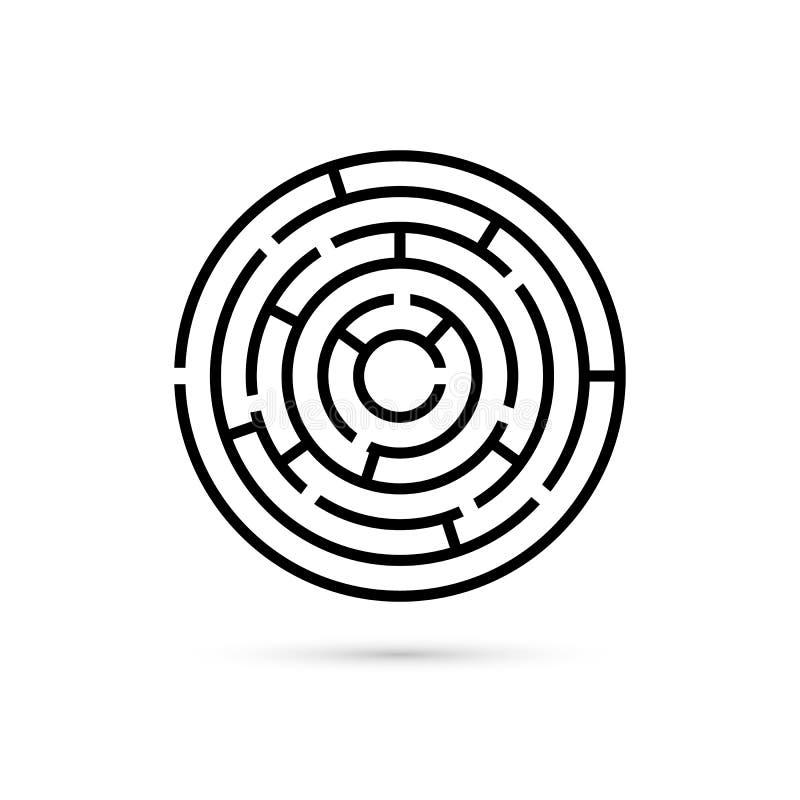 Laberinto circular con manera de centrarse Confusión del negocio y concepto de la solución Diseño plano Ejemplo del vector aislad ilustración del vector