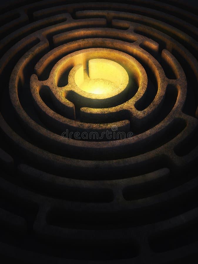 Laberinto circular con una luz brillante en el centro imagen de archivo