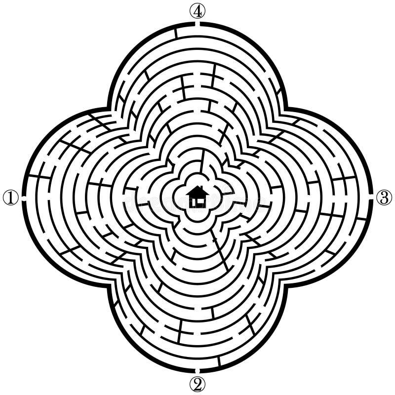 laberinto-con-cuatro-entradas-y-solamente-una-manera-correcta-vector-el-ejemplo-colores-f%C3%A1ciles
