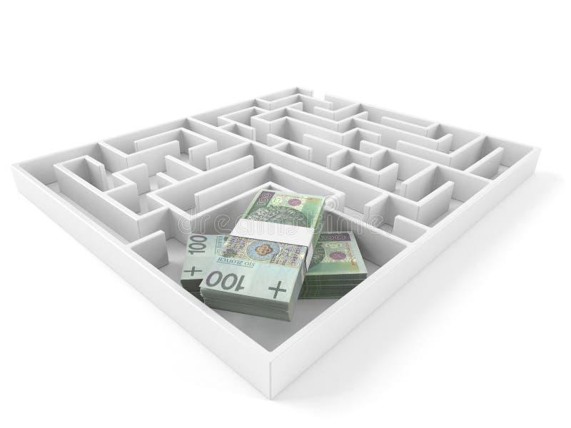 Laberinto con el dinero polaco libre illustration