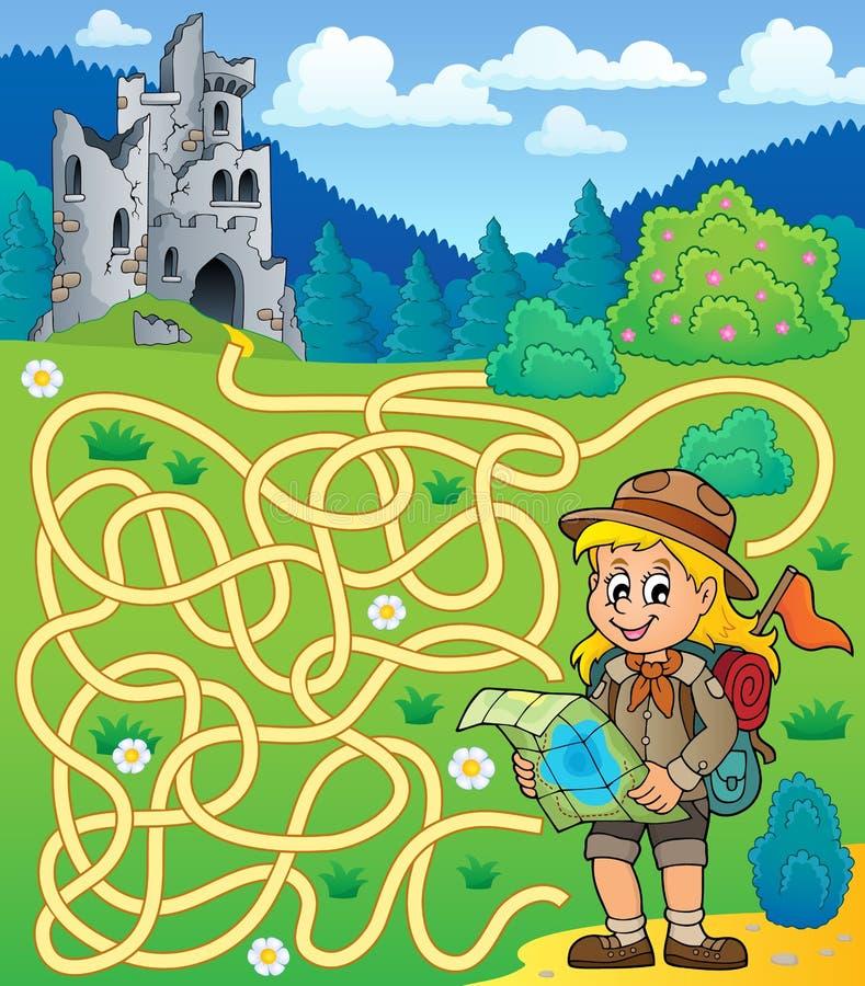 Laberinto 4 con la muchacha del explorador stock de ilustración