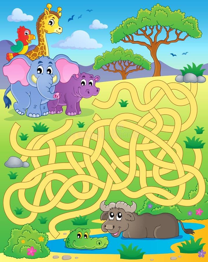 Laberinto 16 con los animales tropicales stock de ilustración