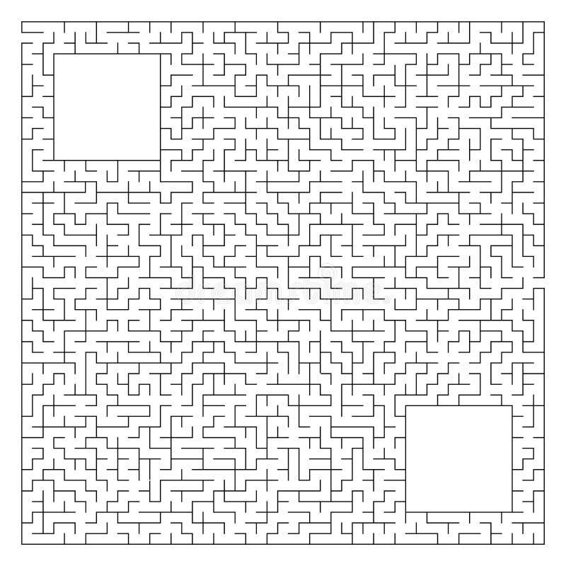 Laberinto cuadrado complejo abstracto con la entrada y la salida Un juego interesante para los niños y los adultos Ejemplo del ve ilustración del vector