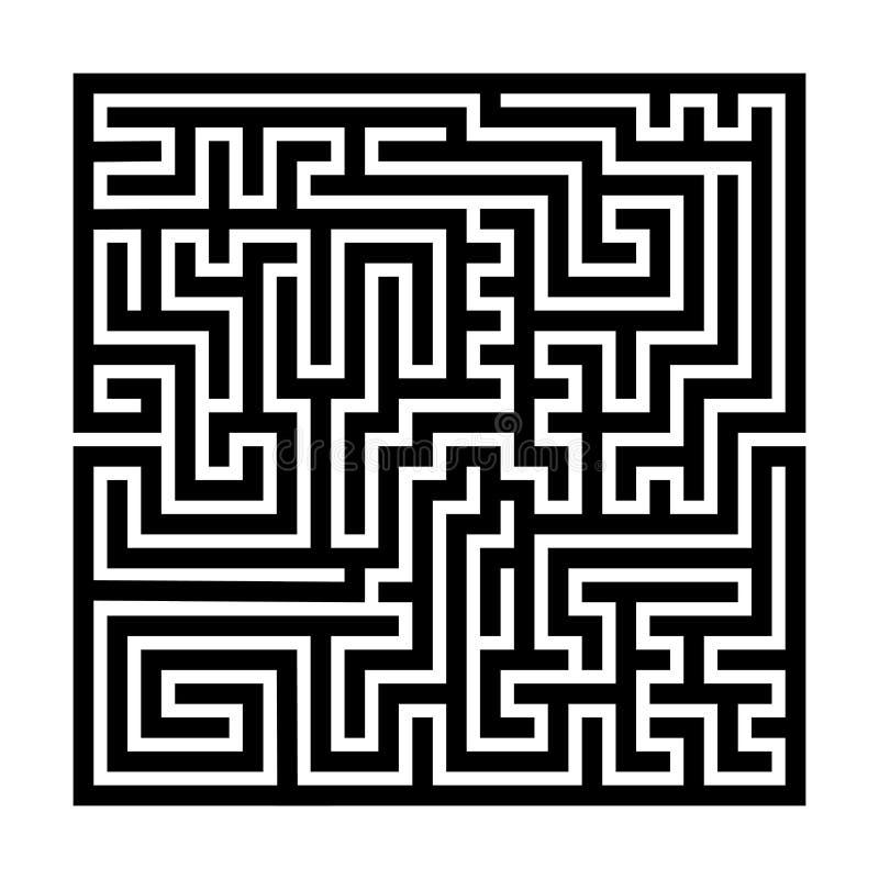 Laberinto cuadrado del laberinto Esquema grueso negro Ilustración del vector stock de ilustración
