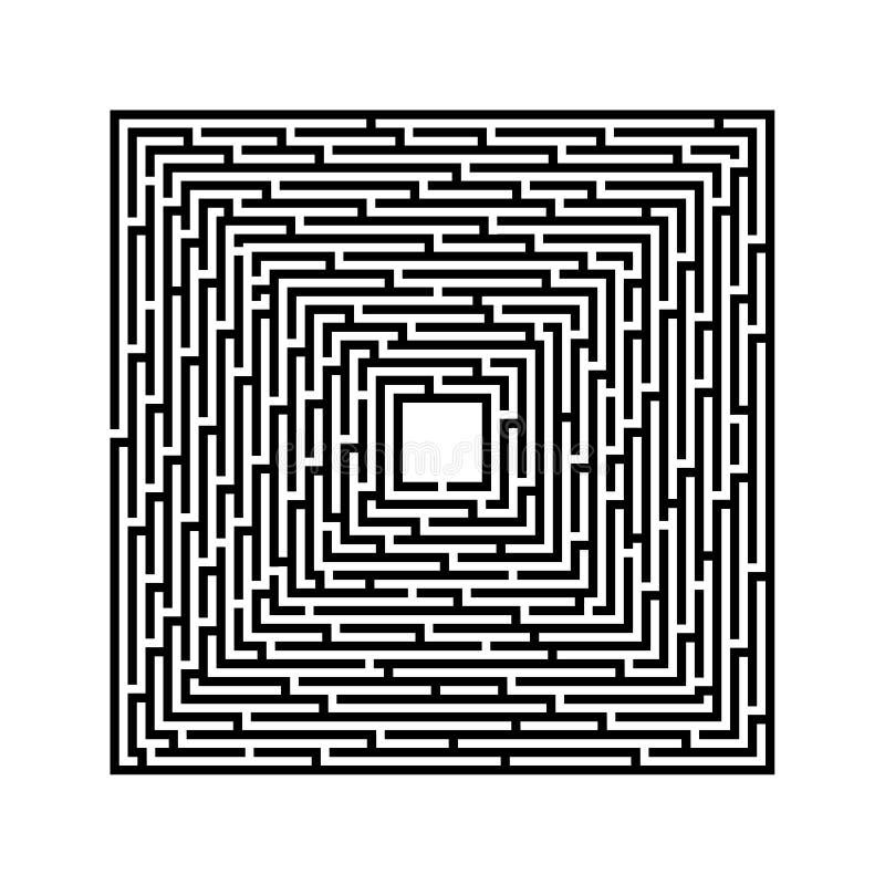 Laberinto cuadrado en un fondo blanco con las líneas negras stock de ilustración