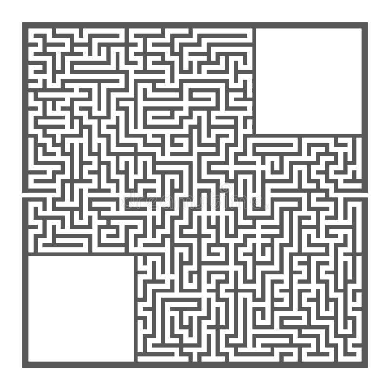 Laberinto cuadrado grande difícil Juego para los niños y los adultos Rompecabezas para los niños Enigma del laberinto Ejemplo pla libre illustration