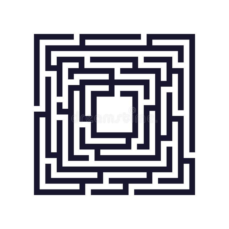 Laberinto cuadrado, icono del laberinto Concepto del asunto libre illustration