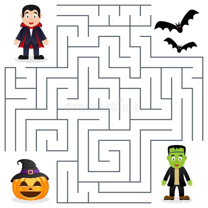 Laberinto de Halloween - Drácula y Frankenstein ilustración del vector