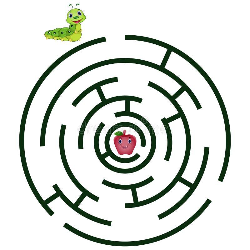 Laberinto de la historieta para los niños con la oruga y la manzana lindas stock de ilustración