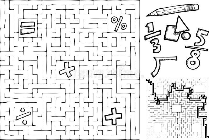 Laberinto de la matemáticas stock de ilustración
