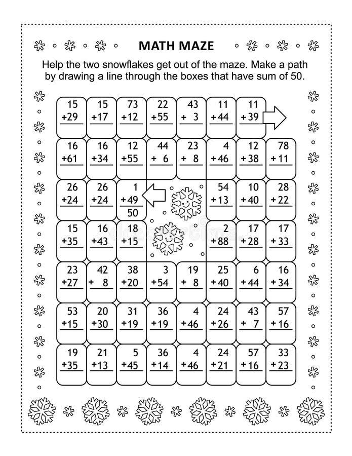 Laberinto de la matemáticas con los hechos de la adición para los números hasta 50 libre illustration